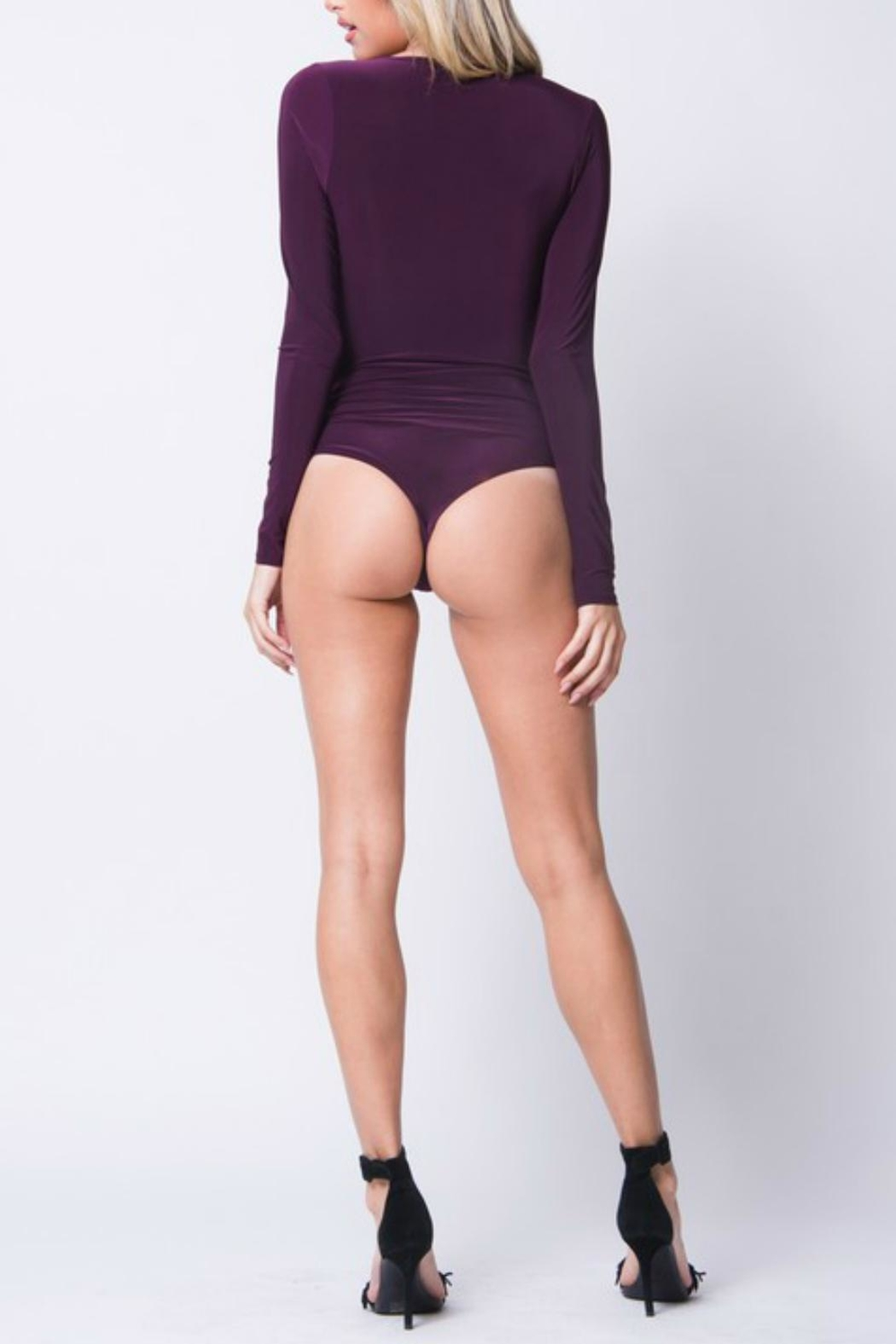Pretty Little Things Deep V Bodysuit - Front Full Image