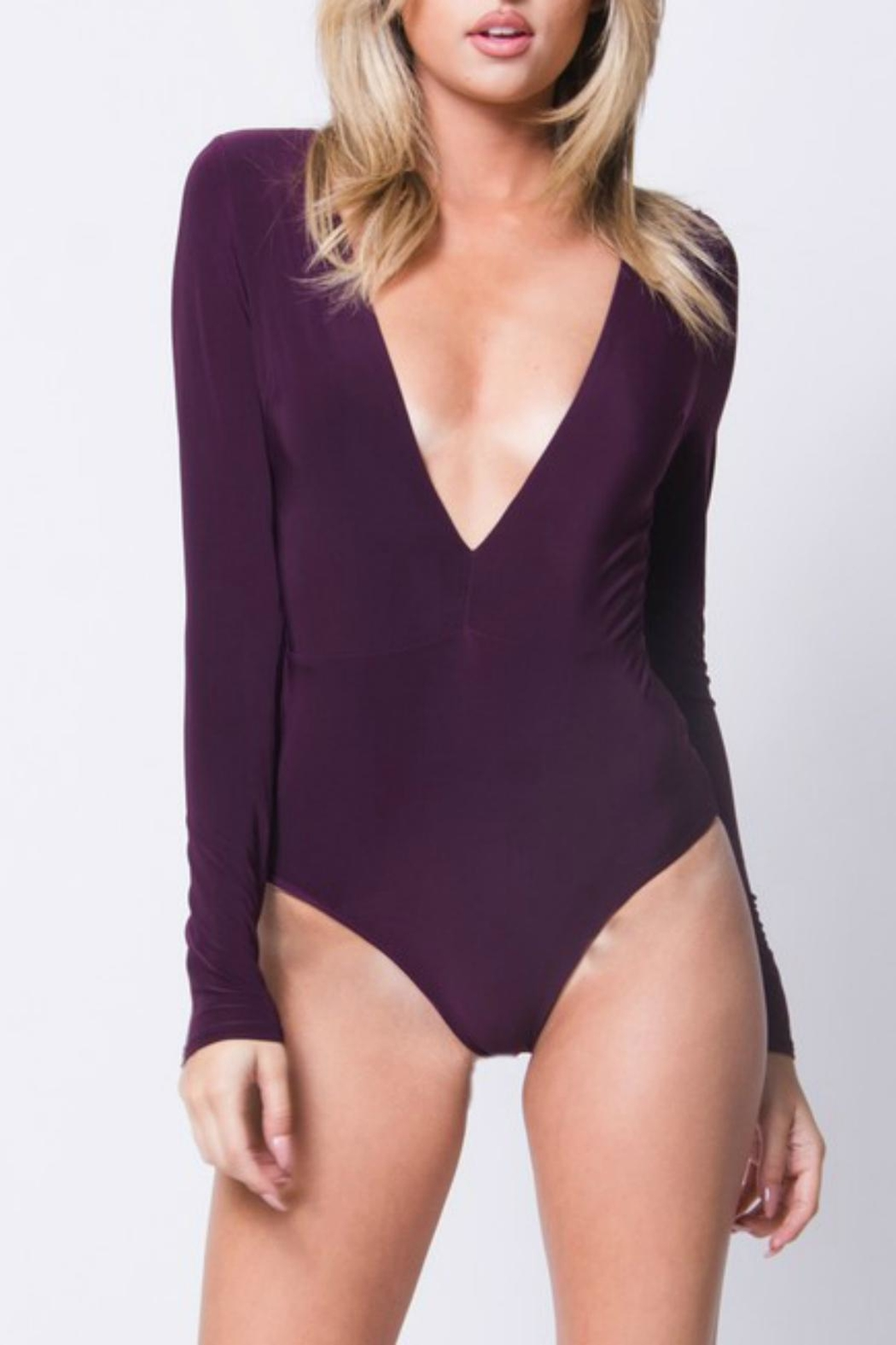 Pretty Little Things Deep V Bodysuit - Front Cropped Image