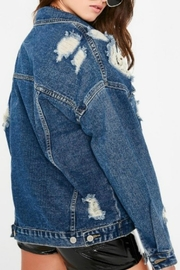 Pretty Little Things Distressed Denim Jacket - Front full body