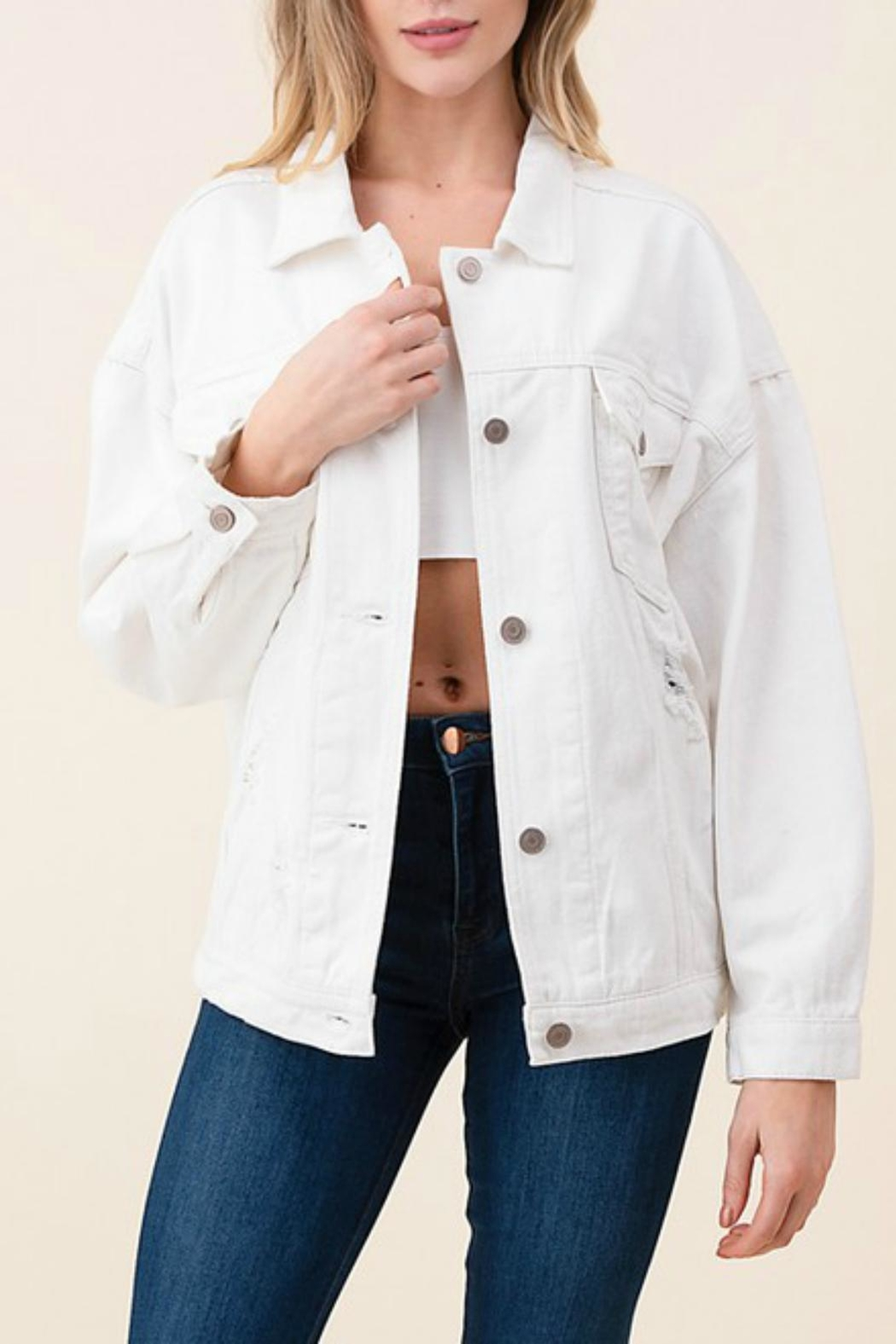 Pretty Little Things Distressed Denim Jacket - Main Image