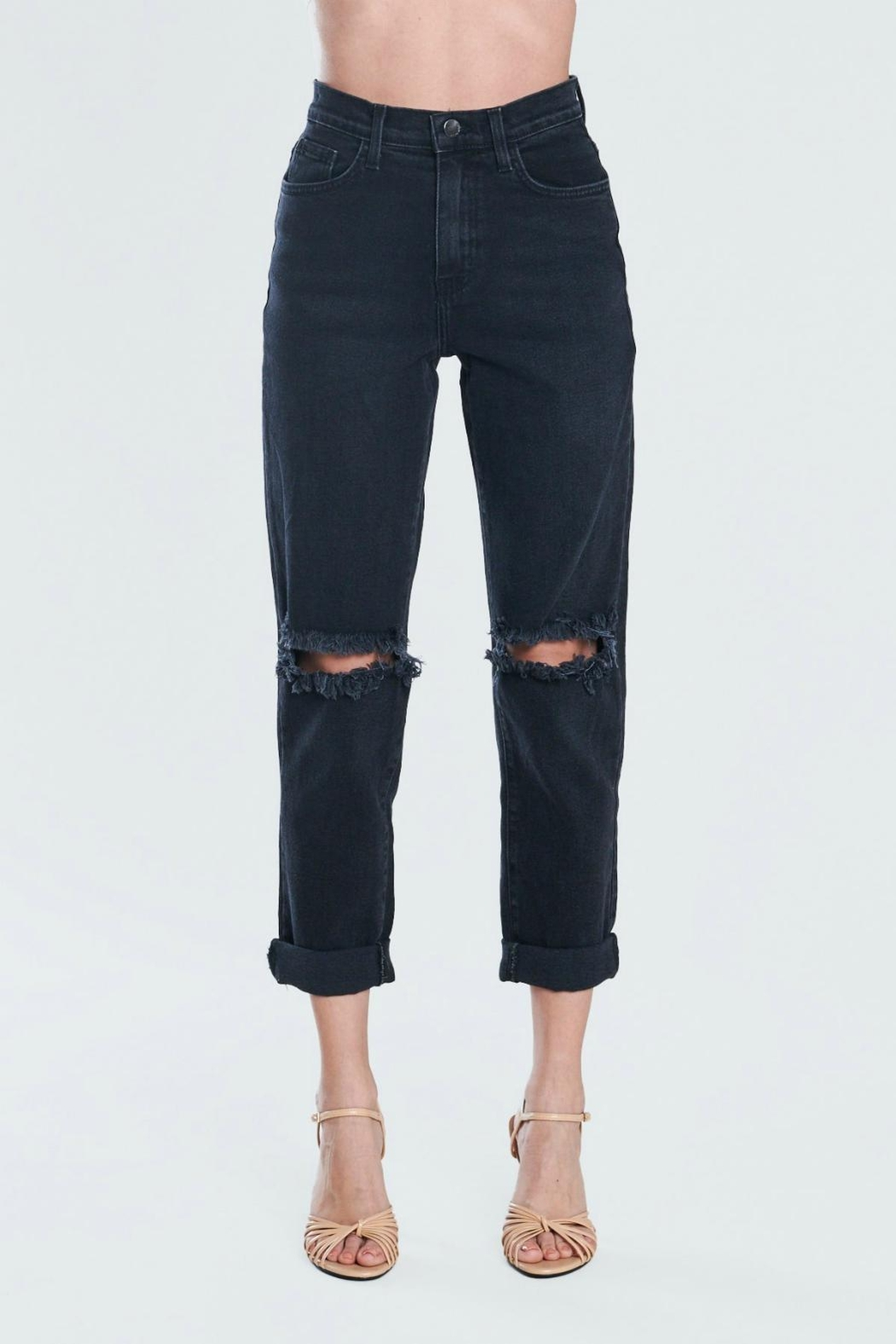 Pretty Little Things Distressed Mom Jeans - Front Cropped Image