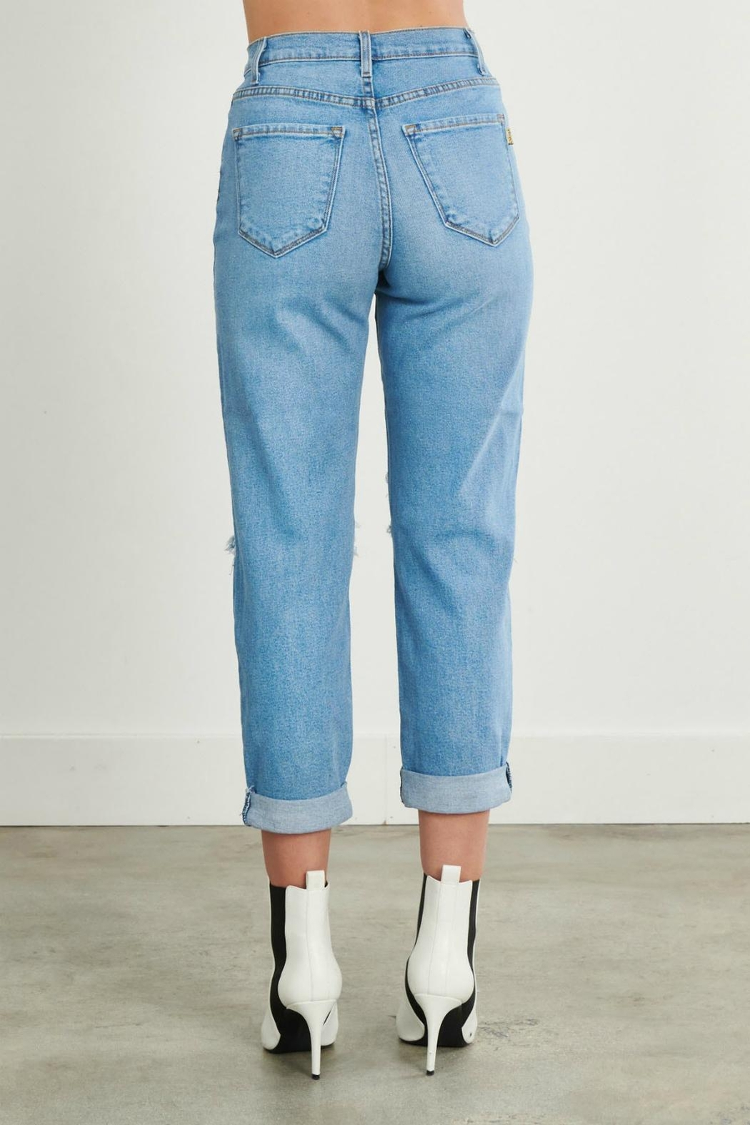 Pretty Little Things Distressed Mom Jeans - Side Cropped Image