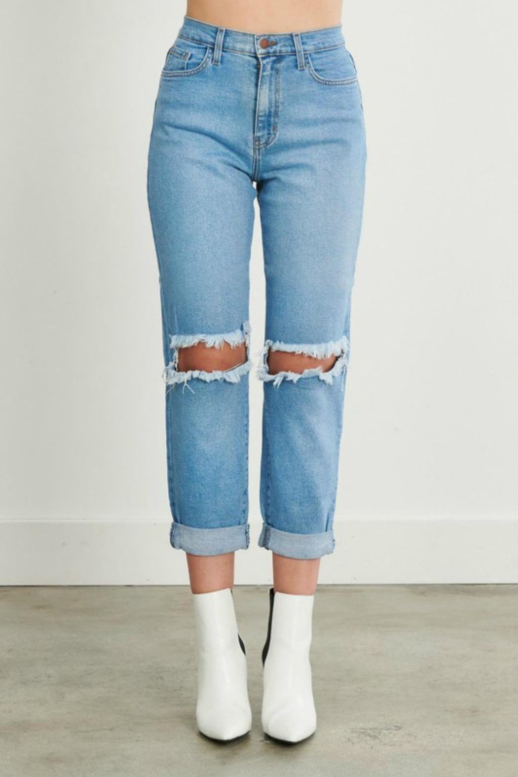 Pretty Little Things Distressed Mom Jeans - Main Image