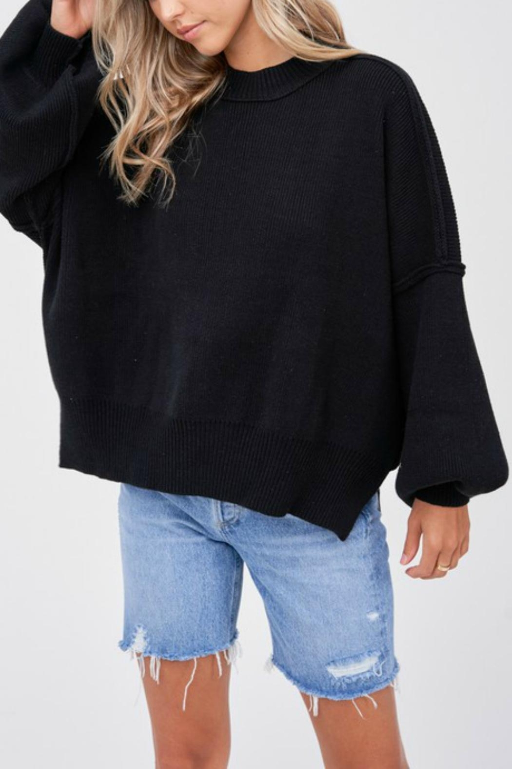 Pretty Little Things Exposed Seam Sweater - Front Cropped Image