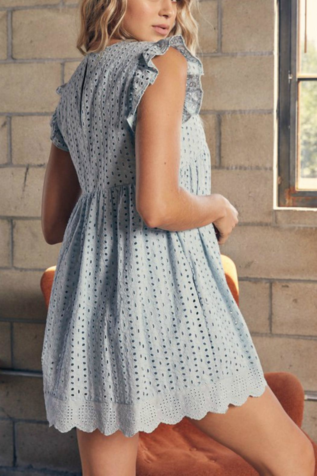 Pretty Little Things Eyelet Babydoll Dress - Front Full Image