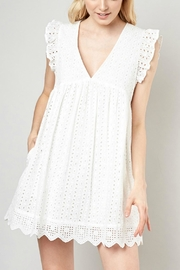 Pretty Little Things Eyelet Babydoll Dress - Front cropped
