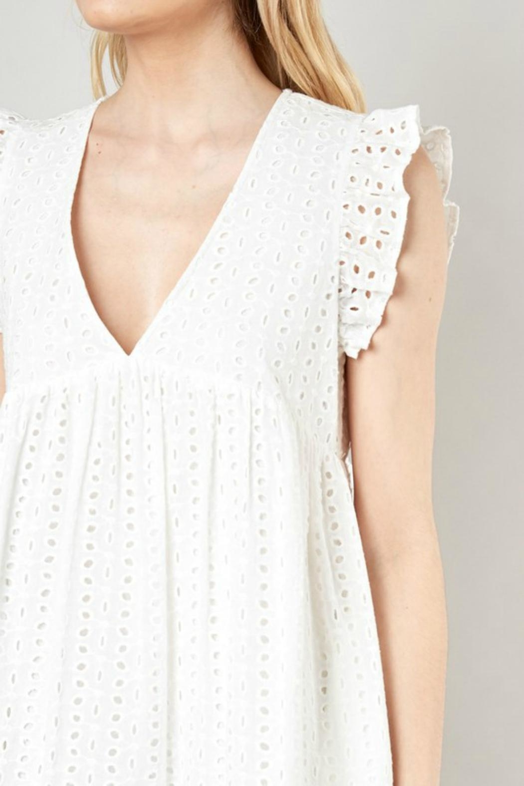 Pretty Little Things Eyelet Babydoll Dress - Side Cropped Image