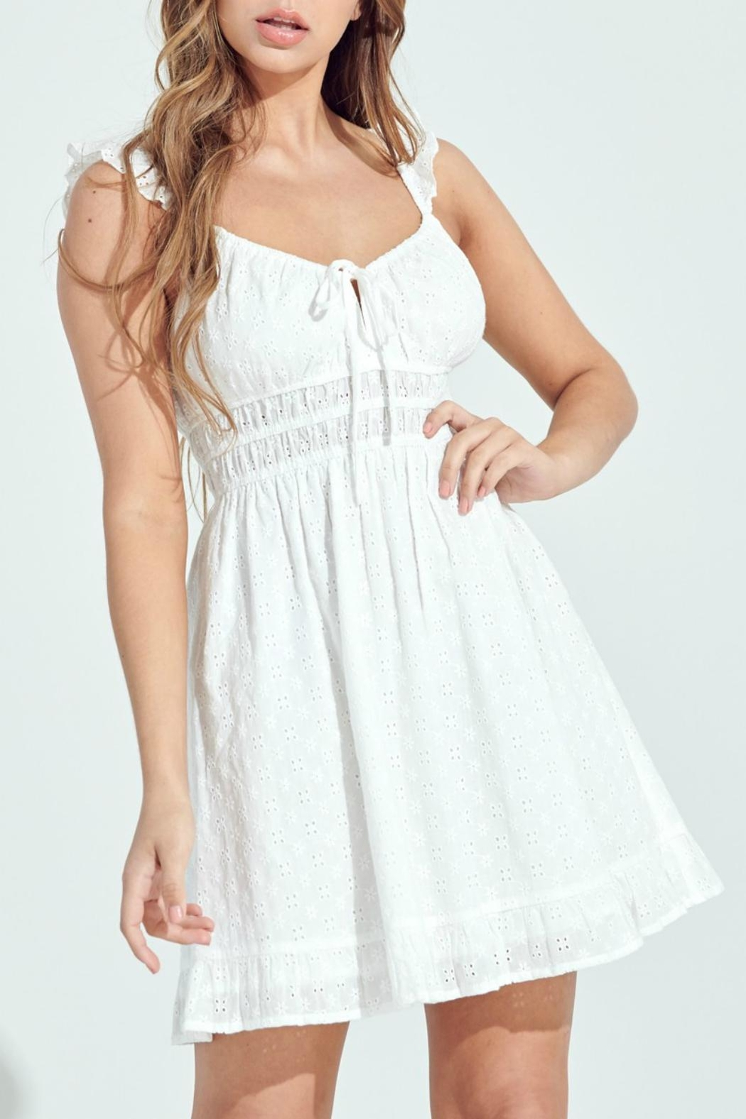 Pretty Little Things Eyelet Milkmaid Dress - Front Cropped Image