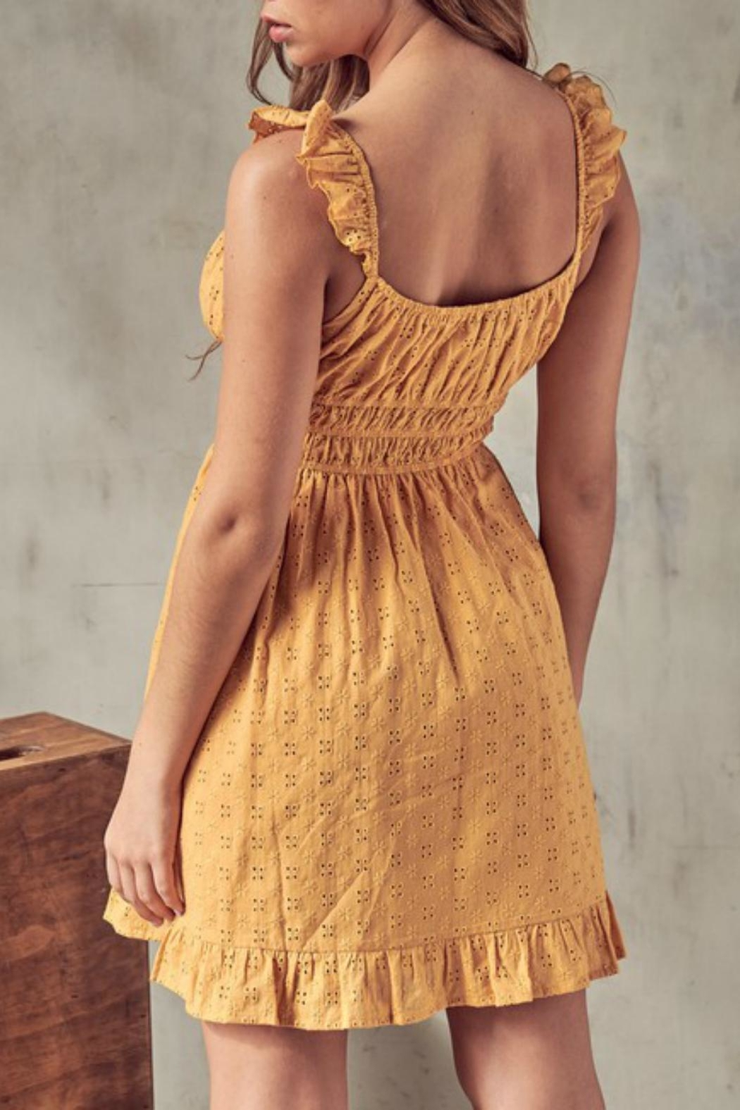 Pretty Little Things Eyelet Milkmaid Dress - Front Full Image