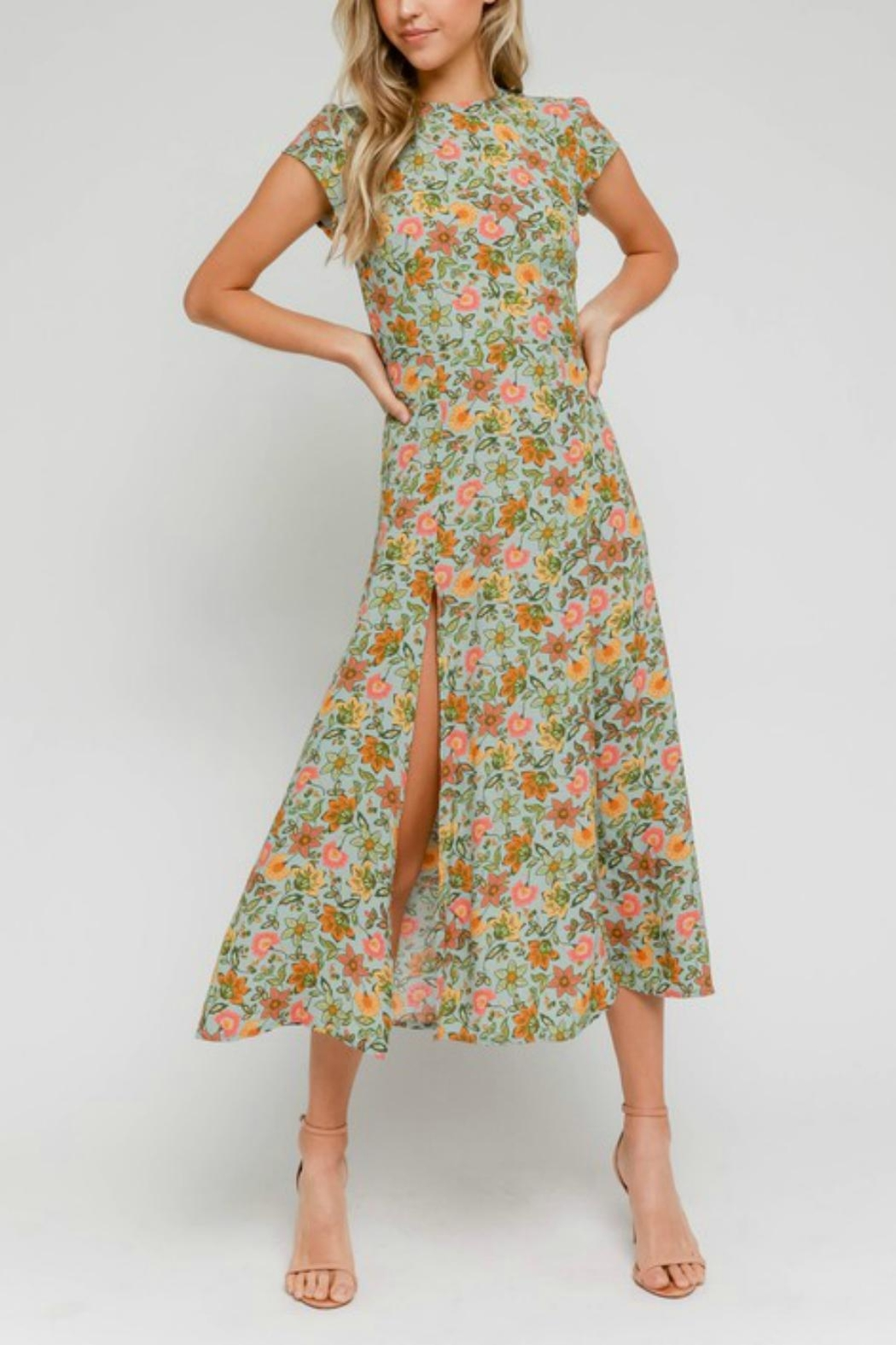 Pretty Little Things Floral Midi Dress - Front Full Image