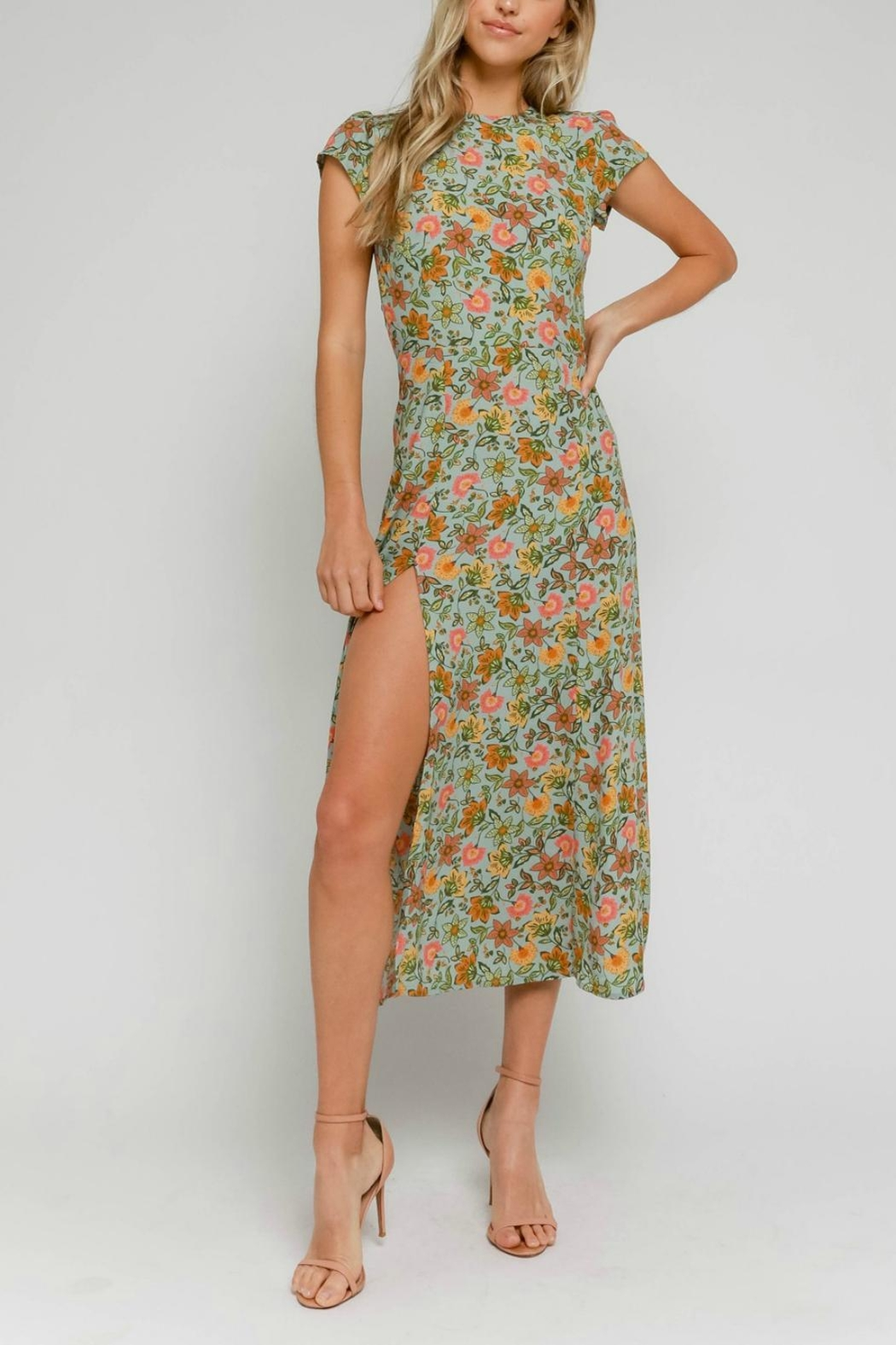 Pretty Little Things Floral Midi Dress - Main Image