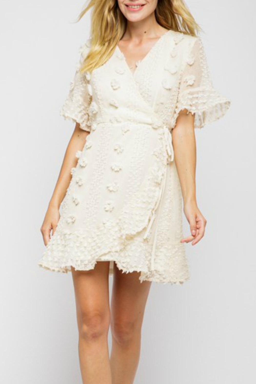 Pretty Little Things Floral Pom-Pom Dress - Front Cropped Image
