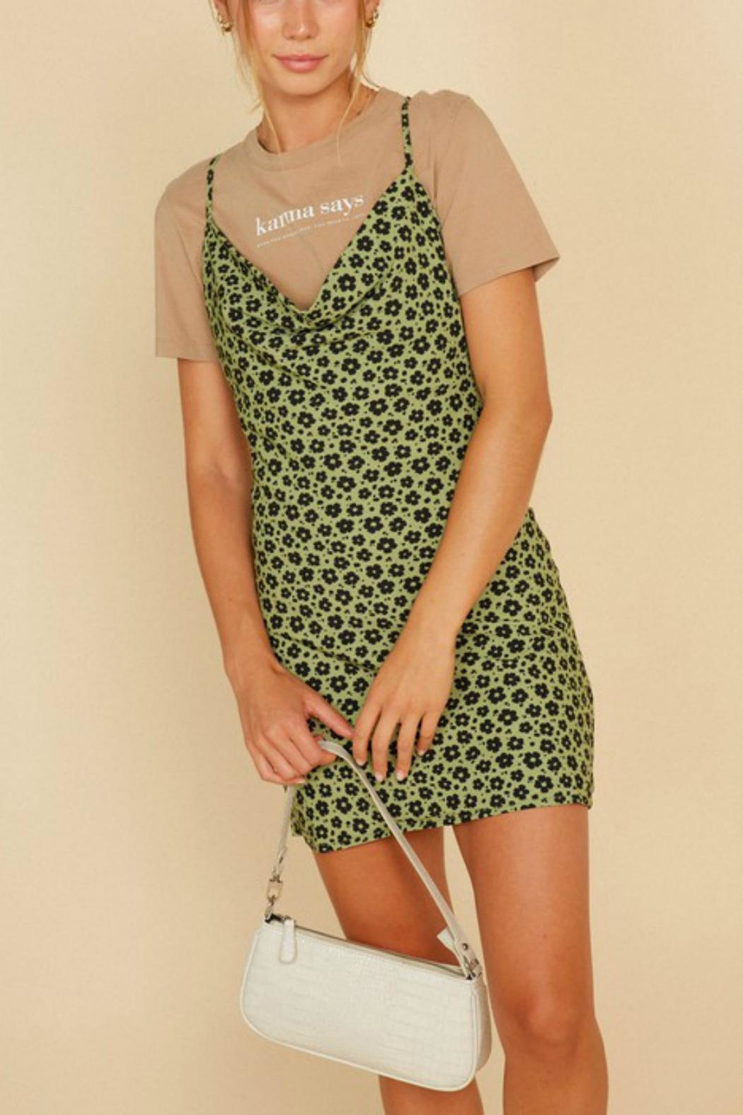 Pretty Little Things Flower Slip Dress - Front Cropped Image