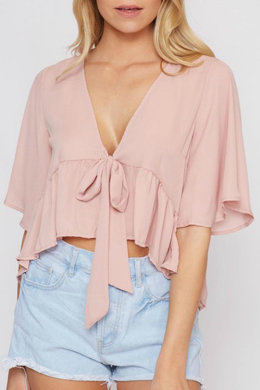 Pretty Little Things Flyaway Tie Top - Front Cropped Image
