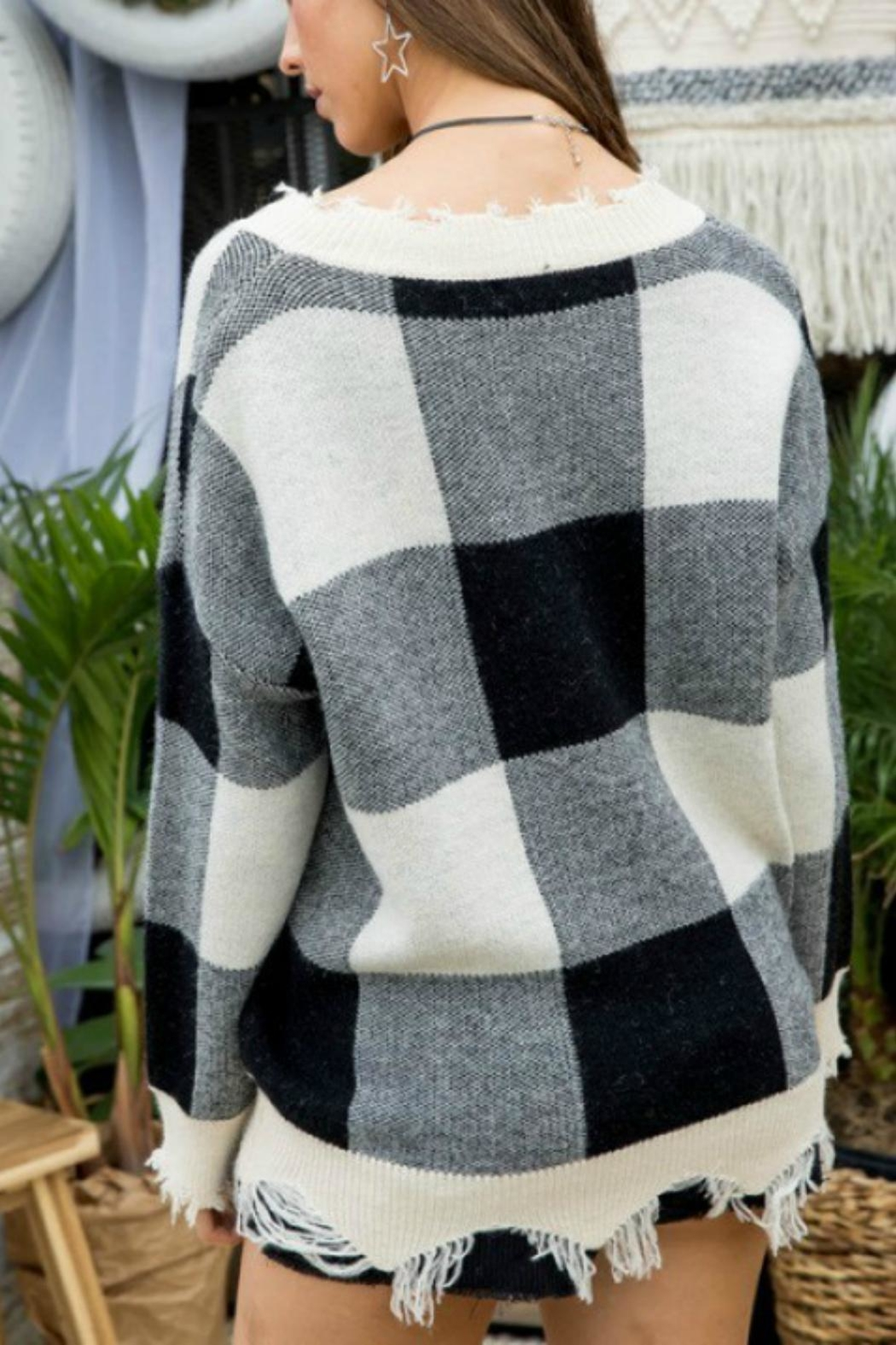 Pretty Little Things Frayed Checkered Sweater - Front Full Image