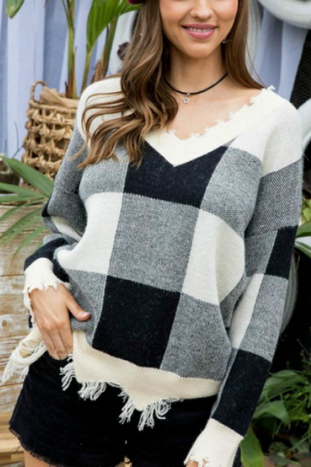 Pretty Little Things Frayed Checkered Sweater - Main Image