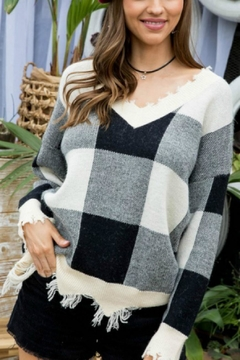 Pretty Little Things Frayed Checkered Sweater - Product List Image