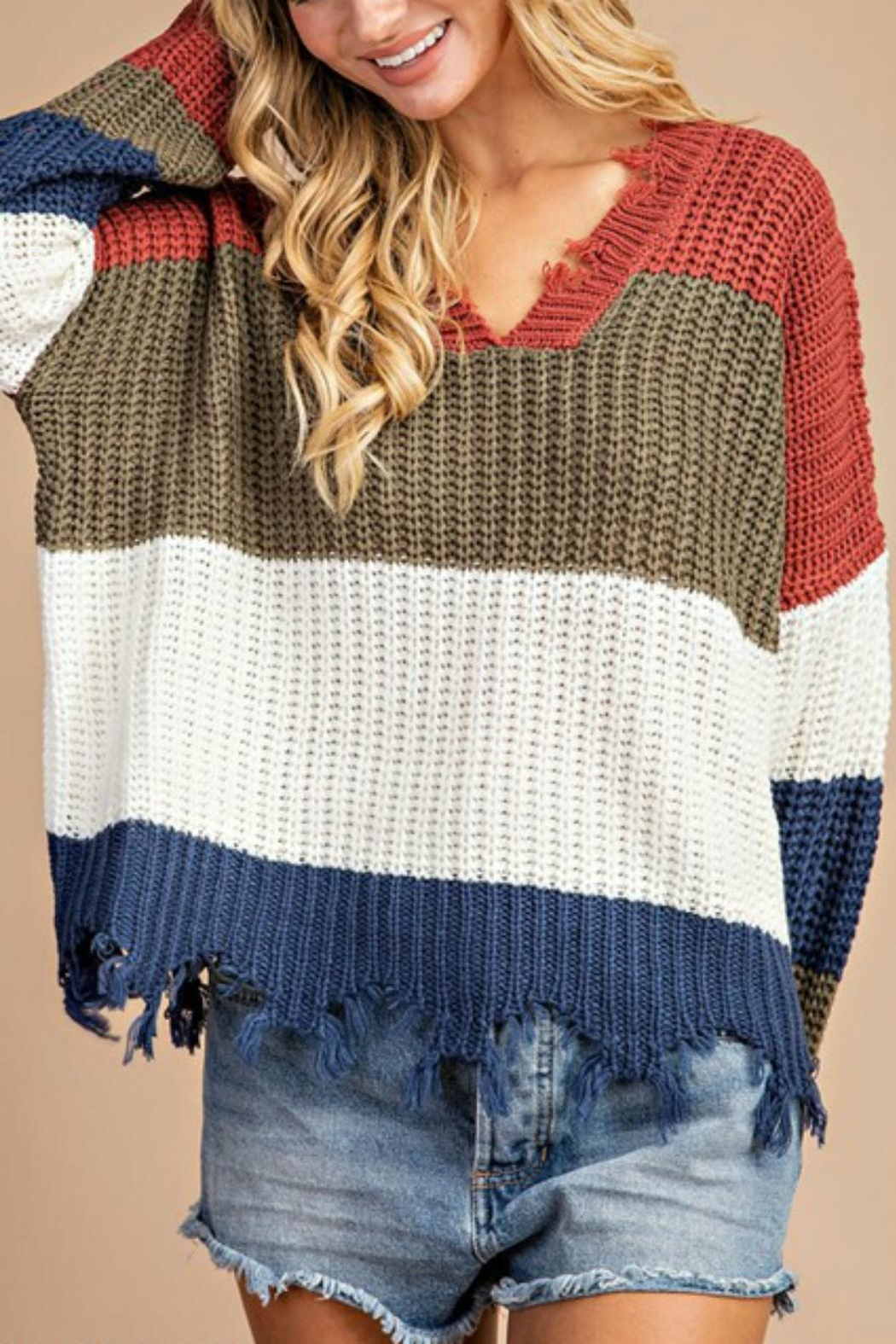 Pretty Little Things Frayed Hem Sweater - Front Cropped Image