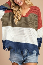 Pretty Little Things Frayed Hem Sweater - Front cropped