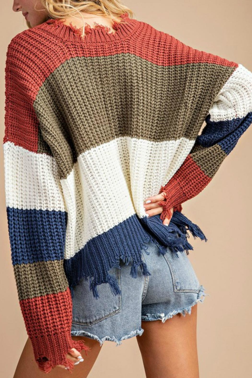 Pretty Little Things Frayed Hem Sweater - Front Full Image