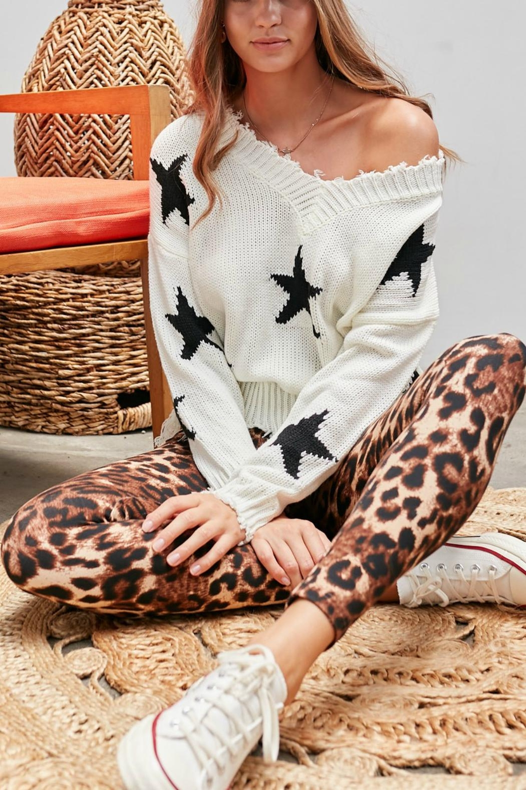 Pretty Little Things Frayed Star Sweater - Front Full Image