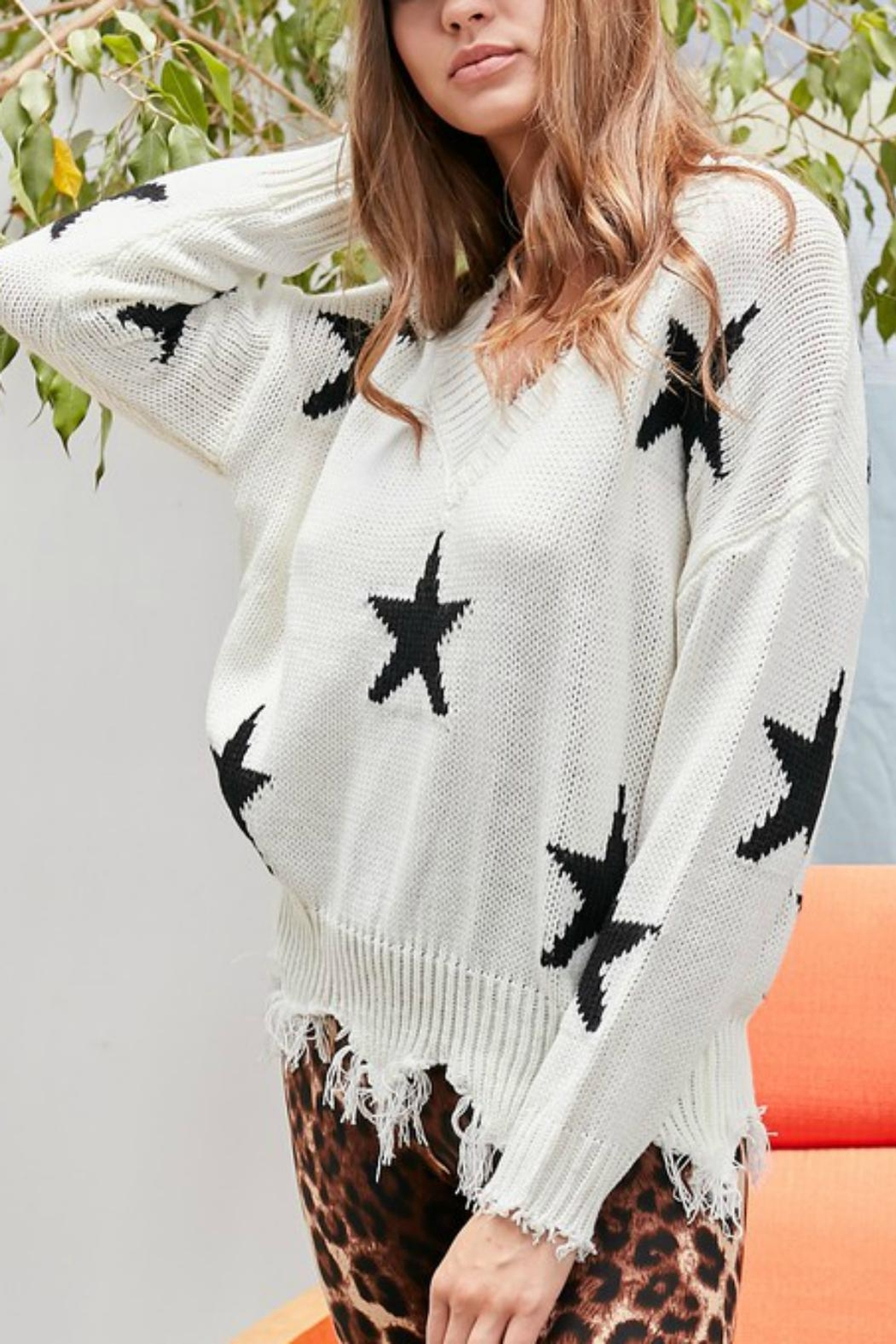 Pretty Little Things Frayed Star Sweater - Main Image