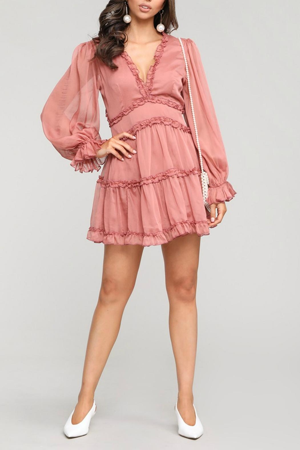 Pretty Little Things Frill Babydoll Dress - Front Cropped Image