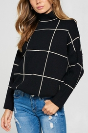 Pretty Little Things Grid Pattern Sweater - Front cropped