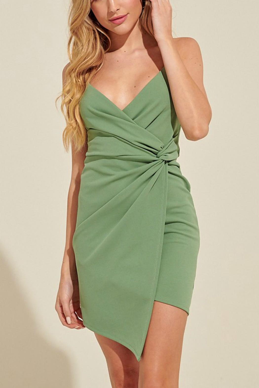 Pretty Little Things Knotted Mini Dress - Front Cropped Image