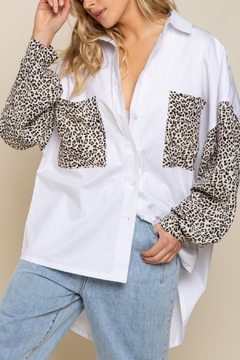 Pretty Little Things Leopard Collared Shirt - Product List Image