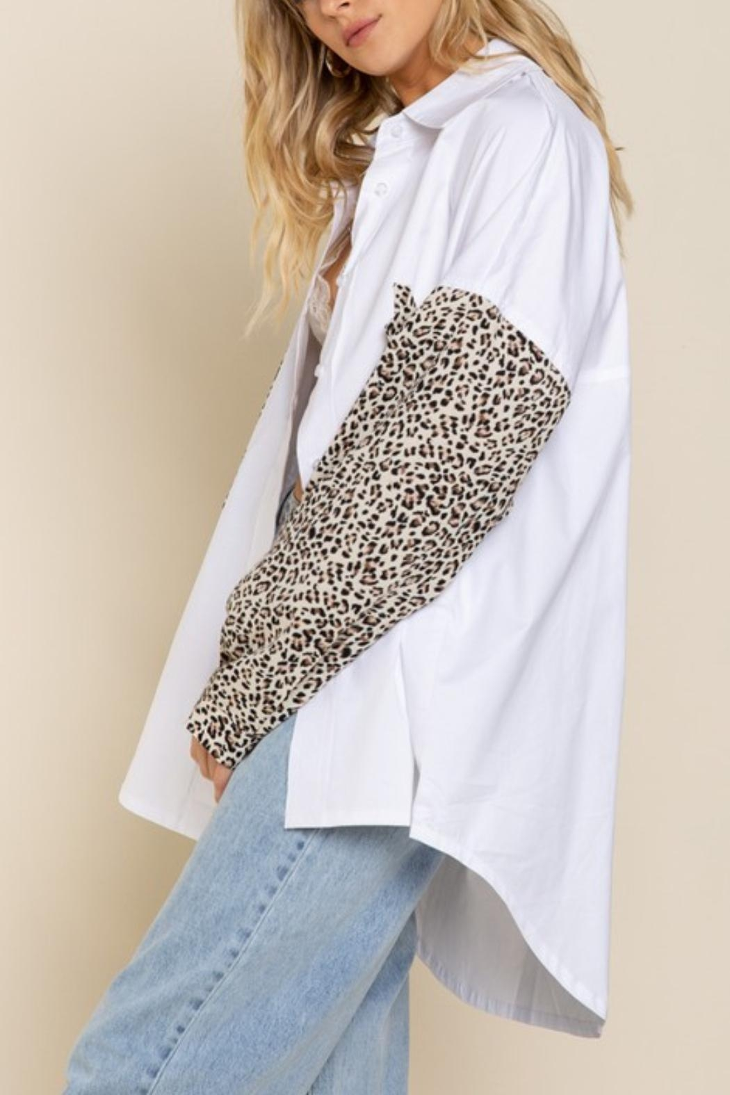 Pretty Little Things Leopard Collared Shirt - Front Full Image
