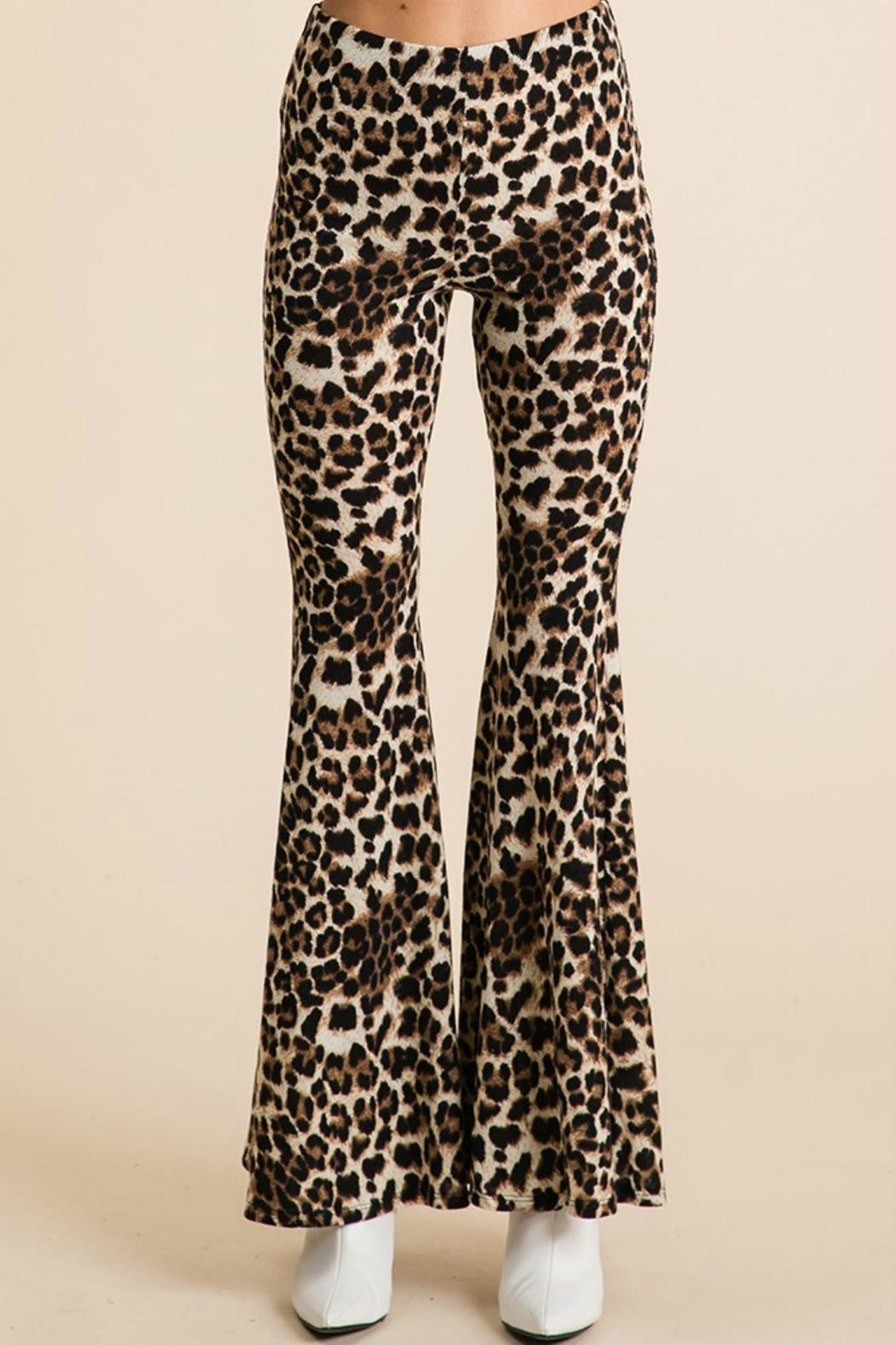 Pretty Little Things Leopard Flare Pants - Front Full Image