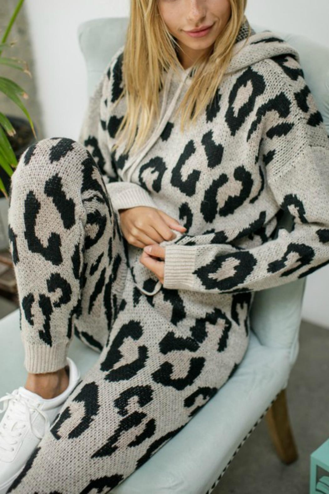 Pretty Little Things Leopard Knit Hoodie - Main Image