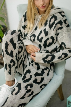 Pretty Little Things Leopard Knit Hoodie - Product List Image