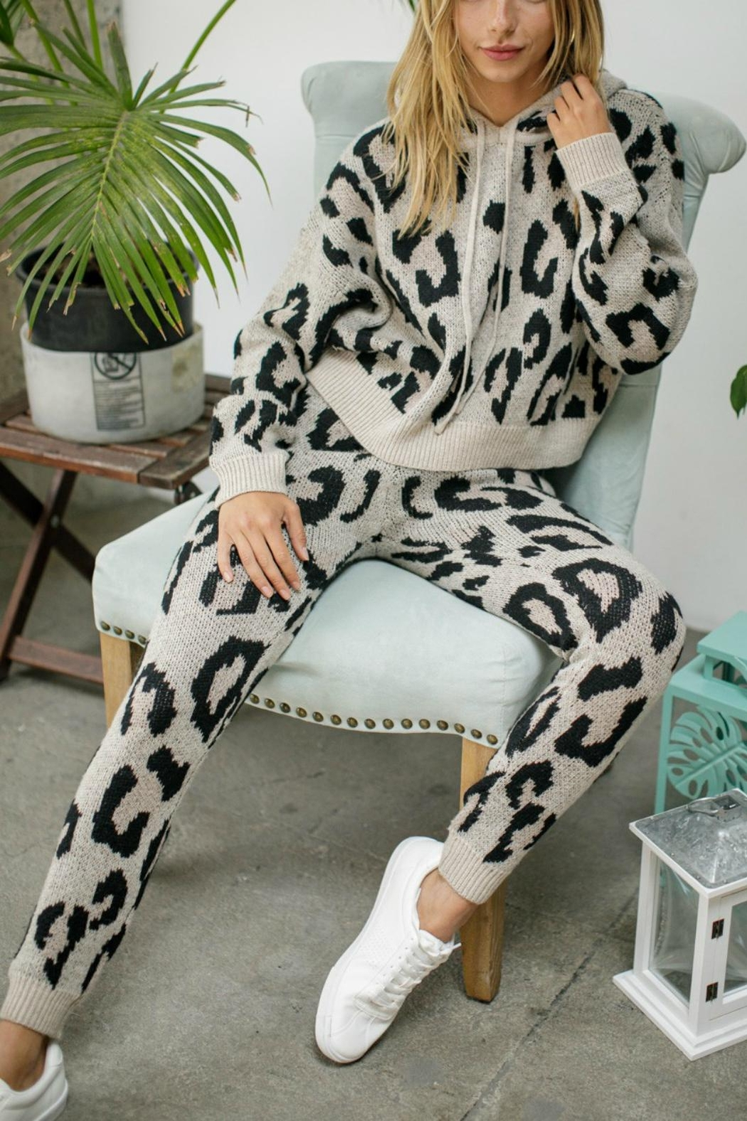 Pretty Little Things Leopard Knit Joggers - Front Full Image