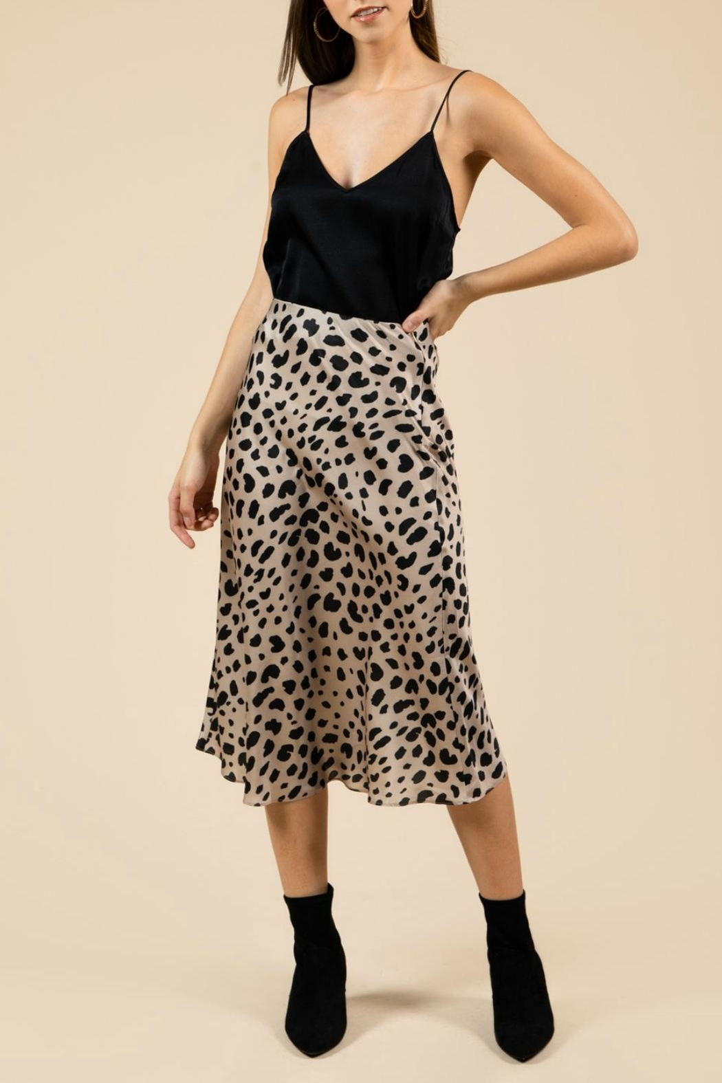 Pretty Little Things Leopard Midi Skirt - Main Image