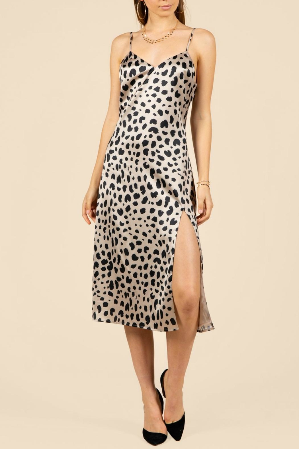 Pretty Little Things Leopard Slip Dress - Front Cropped Image