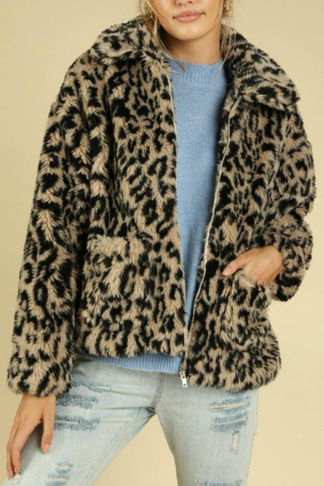 Pretty Little Things Leopard Teddy Coat - Front Cropped Image