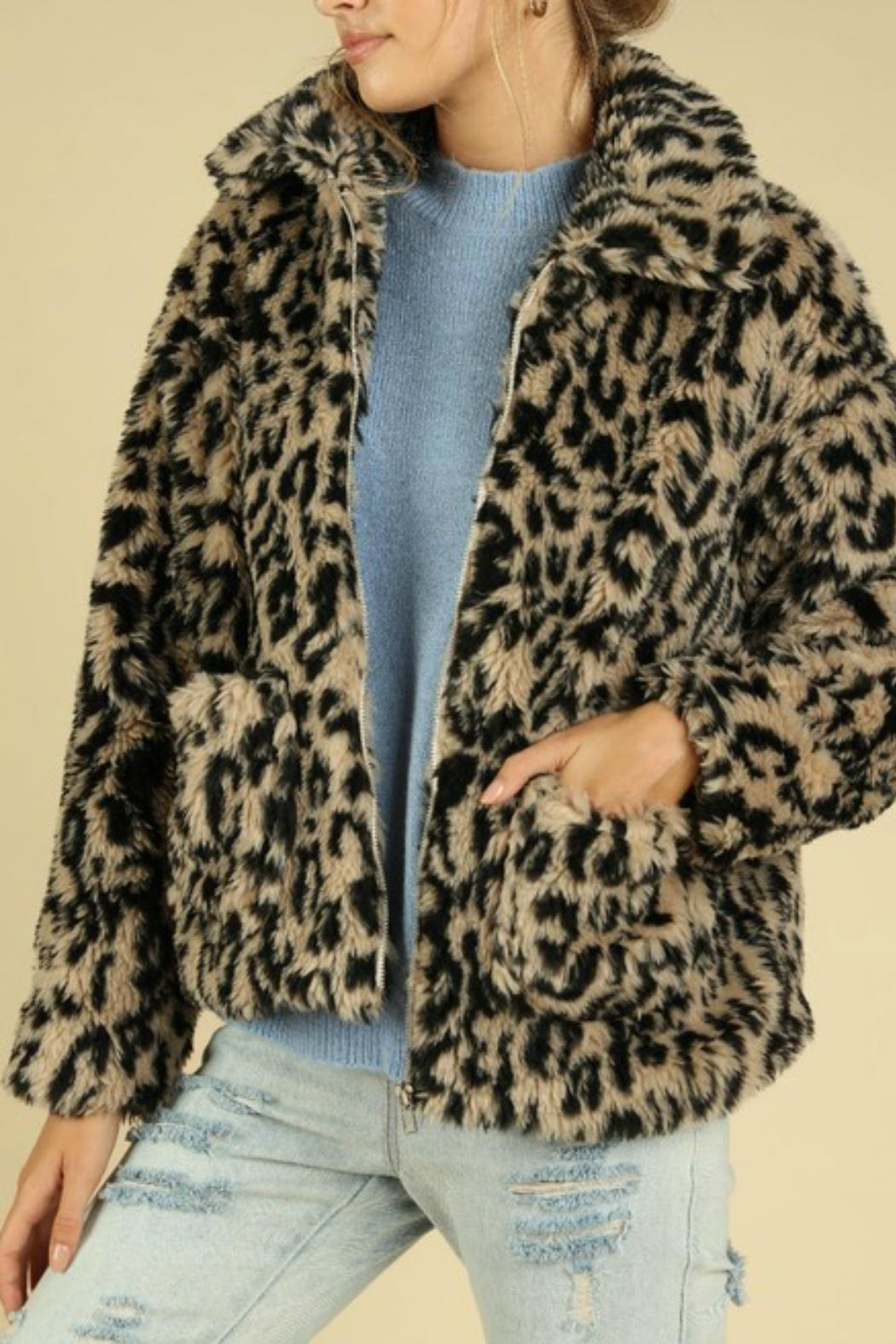 Pretty Little Things Leopard Teddy Coat - Front Full Image
