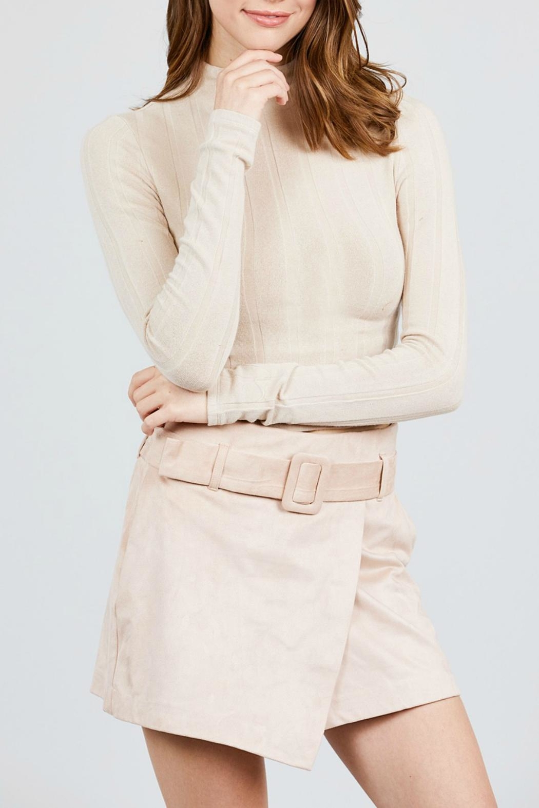 Pretty Little Things Mockneck Crop Top - Front Cropped Image