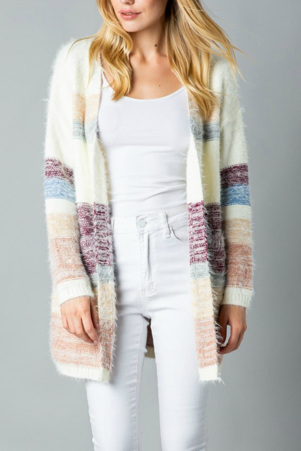 Pretty Little Things Mohair Colorblock Cardigan - Main Image