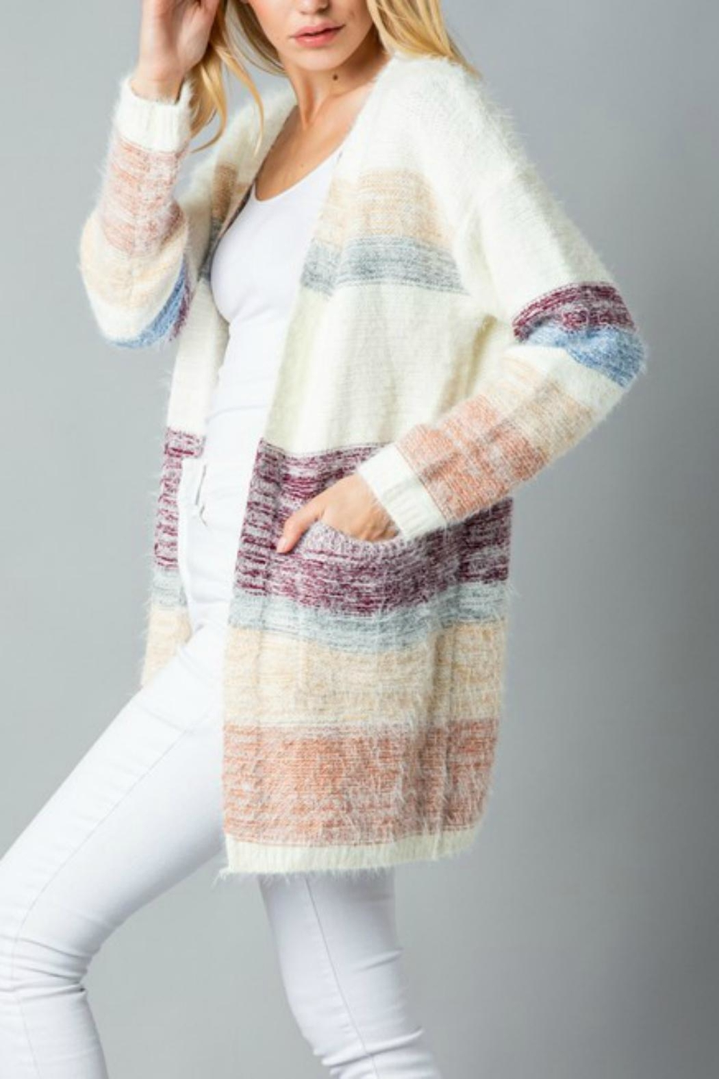 Pretty Little Things Mohair Colorblock Cardigan - Front Full Image