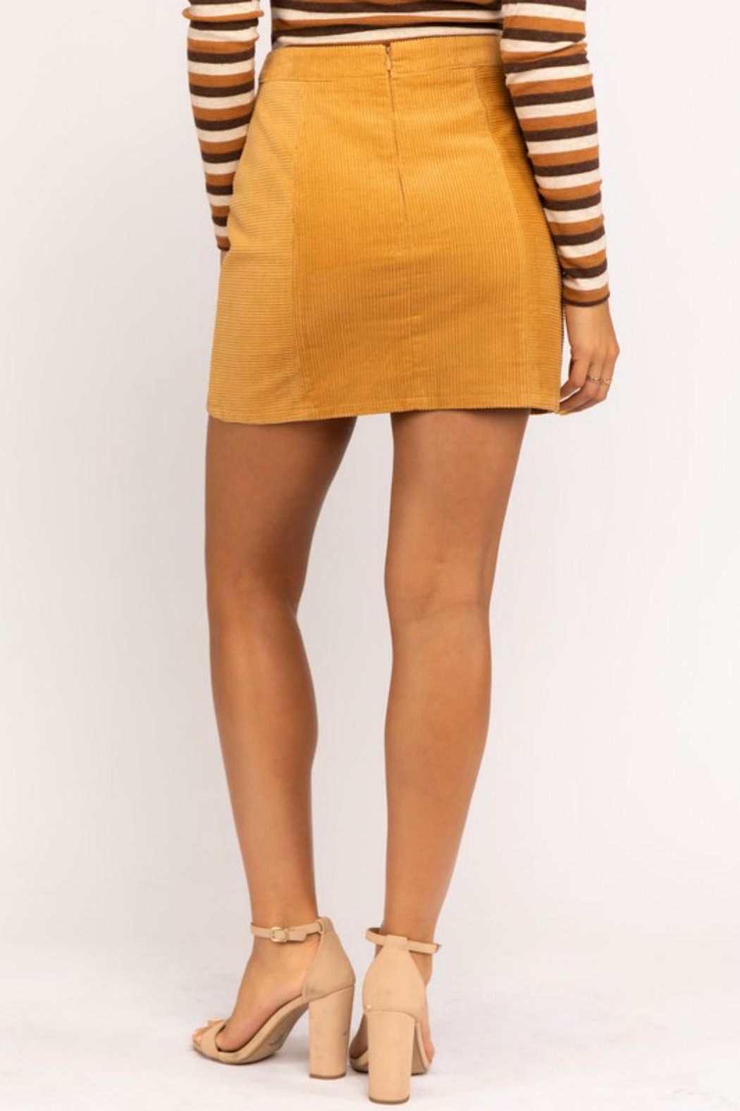 Pretty Little Things Mustard Corduroy Skirt - Side Cropped Image