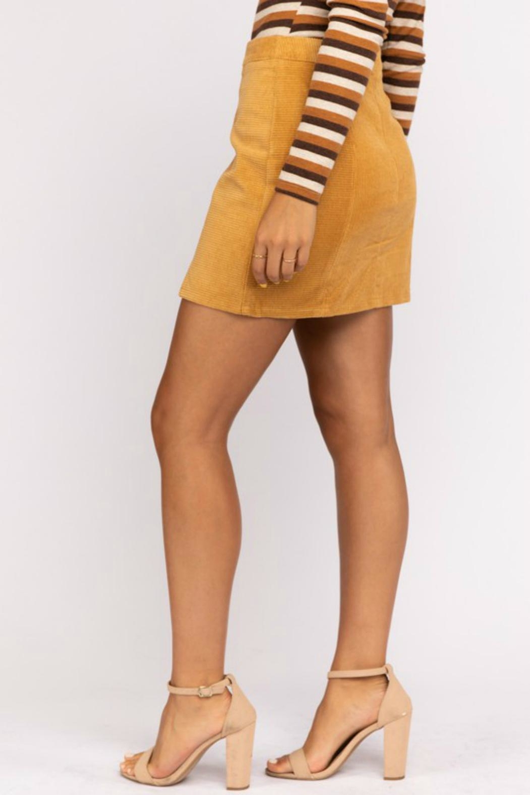 Pretty Little Things Mustard Corduroy Skirt - Front Full Image