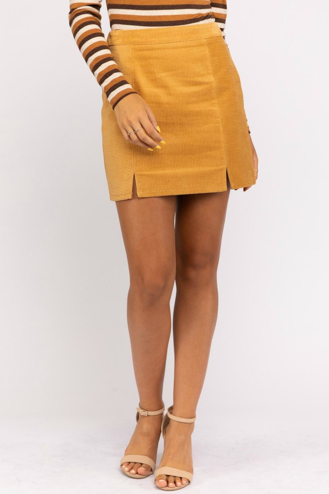 Pretty Little Things Mustard Corduroy Skirt - Main Image