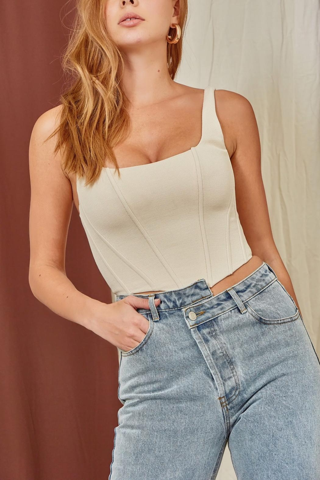 Pretty Little Things Neutral Corset Top - Front Full Image