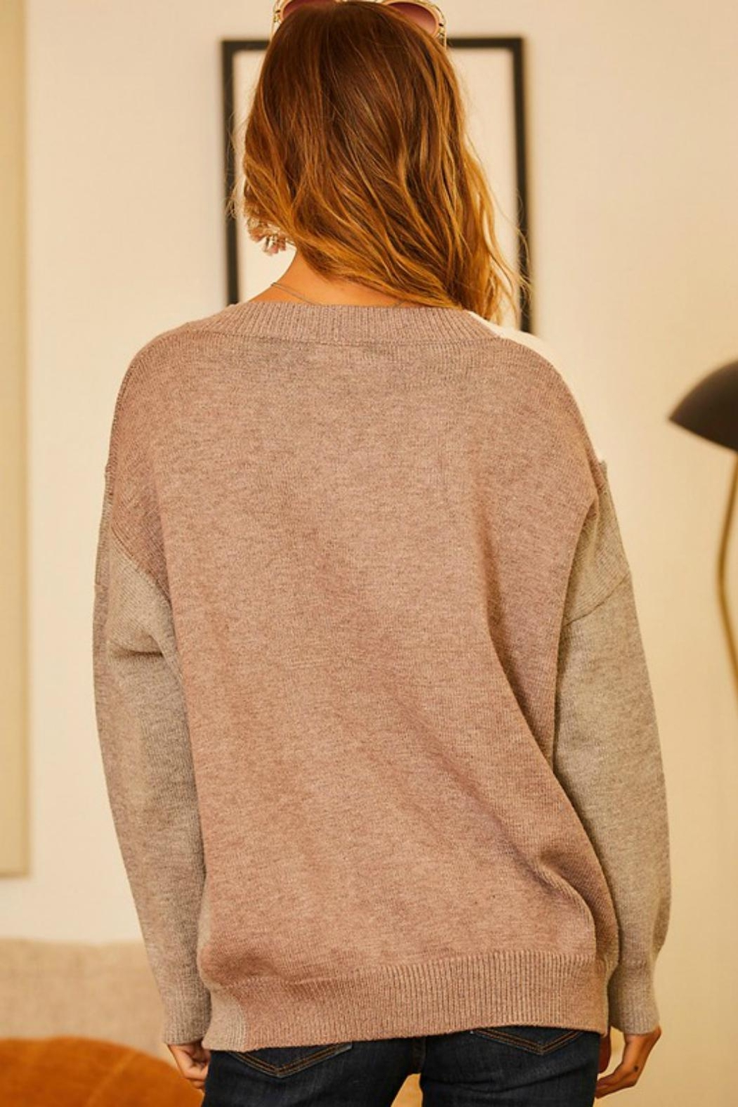 Pretty Little Things Neutrals Colorblock Sweater - Side Cropped Image