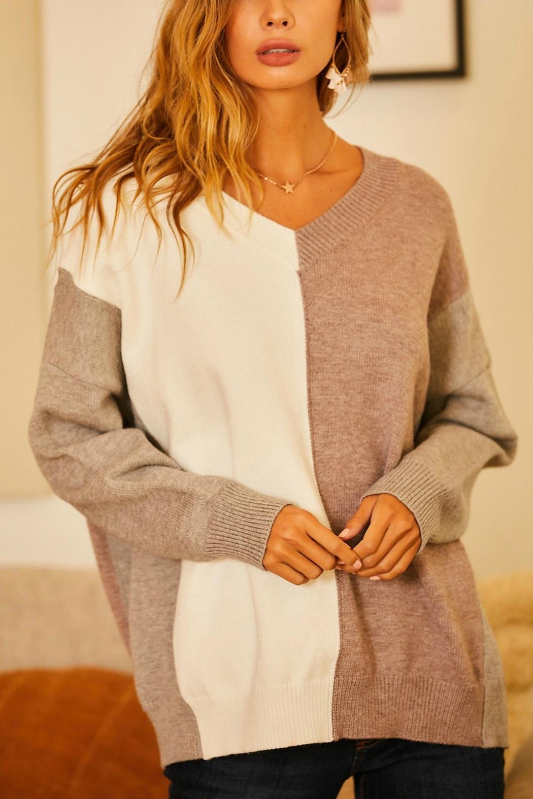 Pretty Little Things Neutrals Colorblock Sweater - Main Image