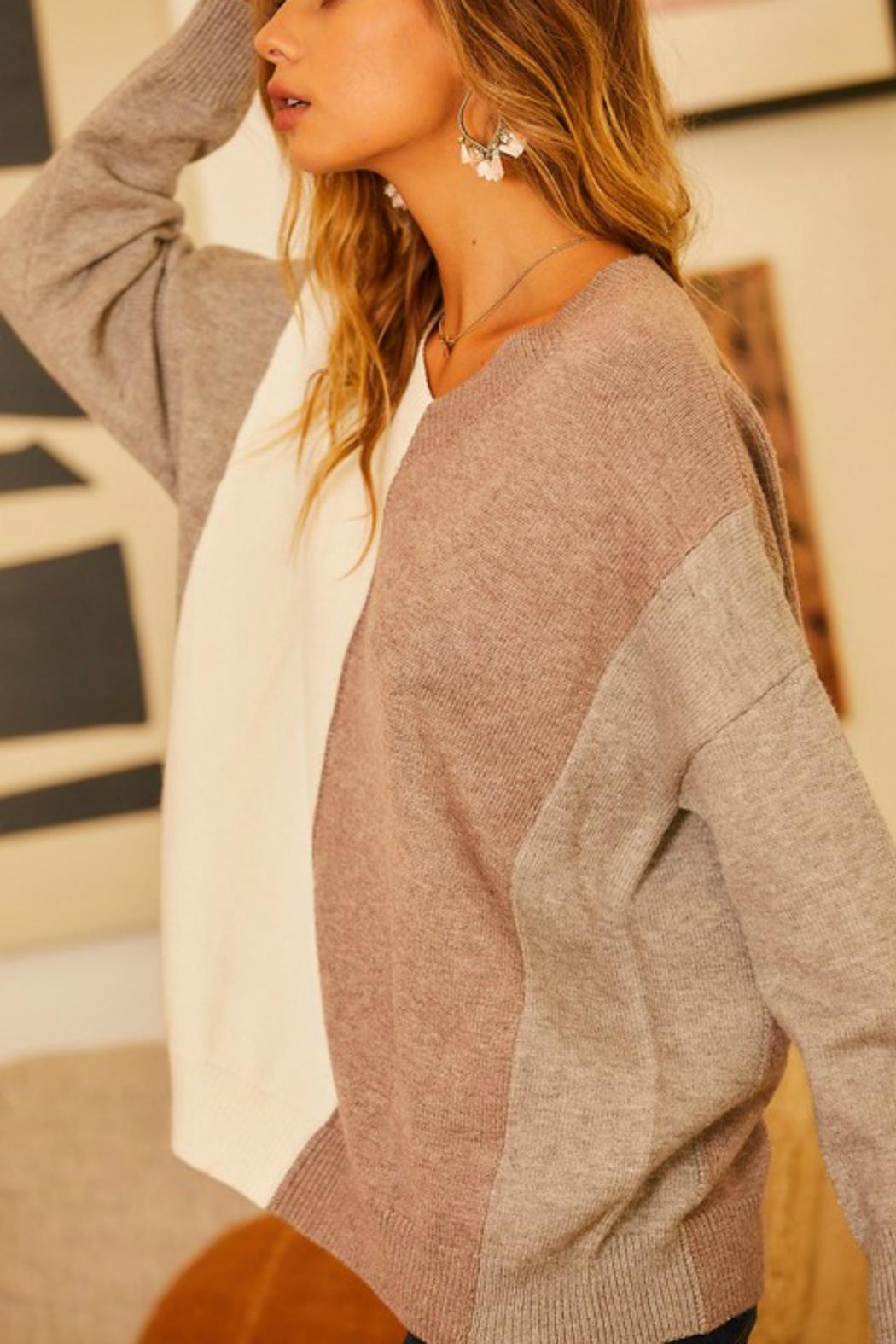 Pretty Little Things Neutrals Colorblock Sweater - Front Full Image
