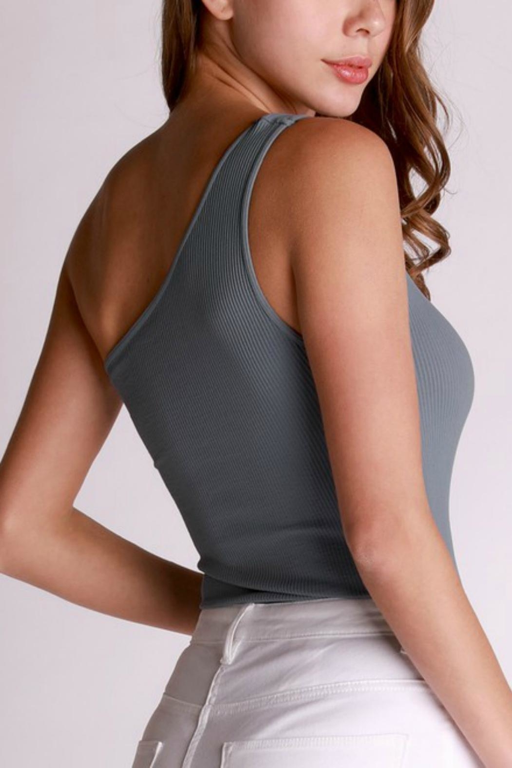 Pretty Little Things One Shoulder Bodysuit - Front Full Image